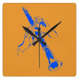 Vintage Orange Blue Hands Clarinet Benny Goodman Square Wall Clock