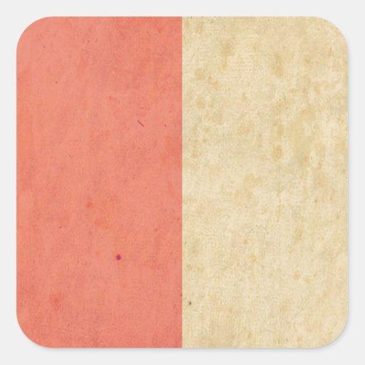 Vintage Orange Cream Bicolor Grunge Pattern Square Sticker