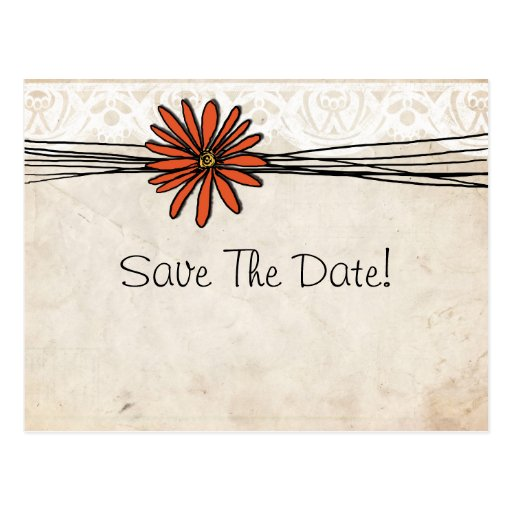 Vintage Orange Daisy Save The Date Post Card