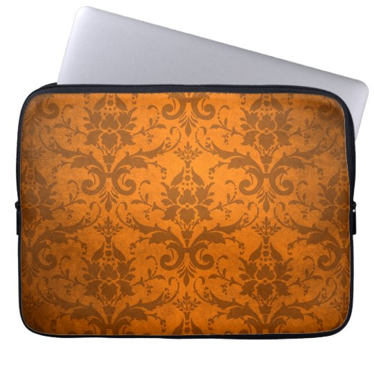 Vintage Orange Damask Wallpaper Laptop Sleeve