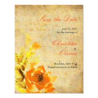 Vintage Orange Floral Save the Date Card 11 Cm X 14 Cm Invitation Card