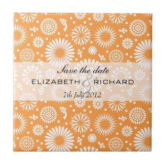 """Vintage orange floral """"Save the date"""" Tile"""