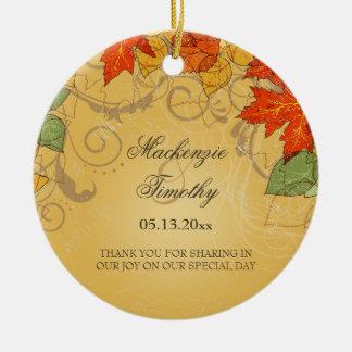 Vintage orange gold fall leaves wedding favor round ceramic decoration