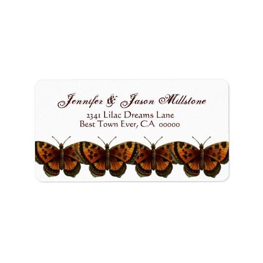Vintage Orange Leopard Butterflies Wedding Label