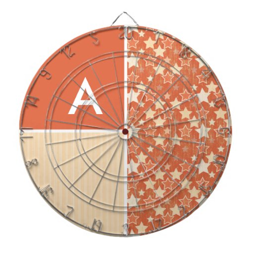 Vintage Orange Retro Star Pattern Dart Boards