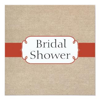 Vintage Orange Rust and Beige Burlap Bridal Shower 13 Cm X 13 Cm Square Invitation Card