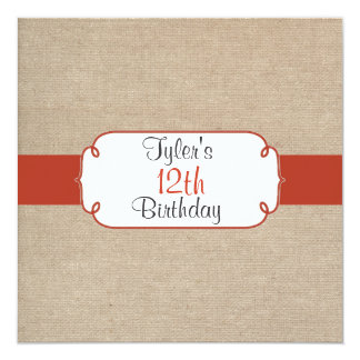 Vintage Orange Rust & Beige Burlap Birthday Party Personalized Announcement