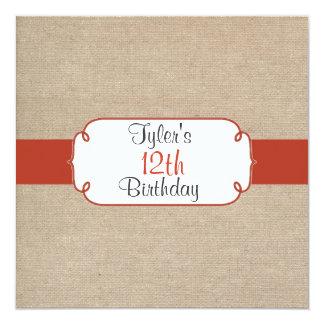 Vintage Orange Rust & Beige Burlap Birthday Party 13 Cm X 13 Cm Square Invitation Card