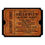 Vintage Orange Spider Web Halloween Party Ticket Custom Invitation
