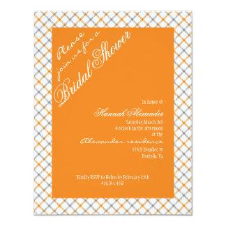 Vintage Orange Tartan Plaid Filigree Bridal Shower Card