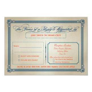 Vintage Orange, Teal & Blue DIY Wedding RSVP Personalized Announcements