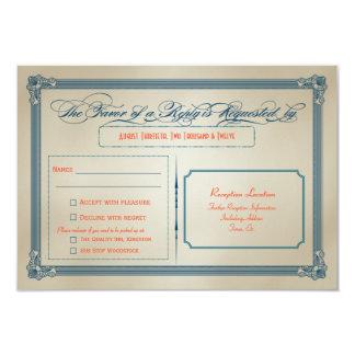 """Vintage Orange, Teal & Blue DIY Wedding RSVP 3.5"""" X 5"""" Invitation Card"""