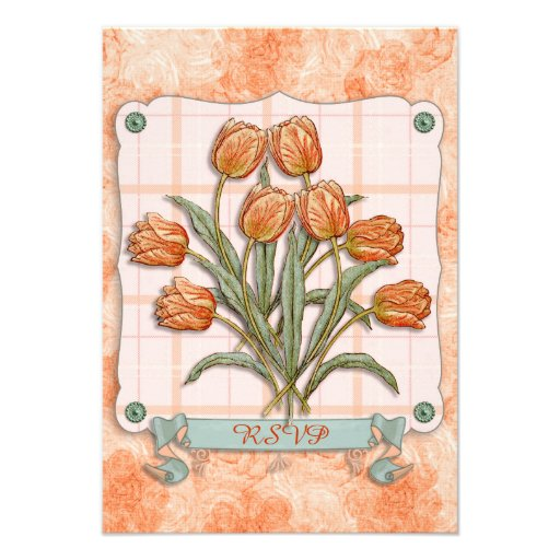 Vintage Orange Tulips Peach Pink Plaid Nice Ribbon Personalized Announcements
