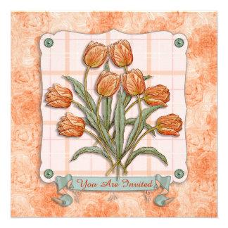 Vintage Orange Tulips Peach Pink Plaid Nice Ribbon Custom Invite