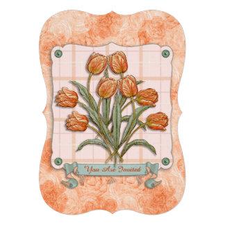 Vintage Orange Tulips Peach Pink Plaid Nice Ribbon Invitations