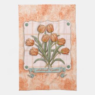 Vintage Orange Tulips Peach Pink Plaid Nice Ribbon Tea Towel