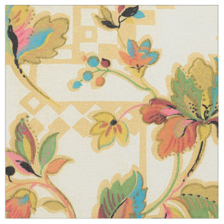 Vintage Orange Turquoise Floral Wallpaper Pattern Fabric