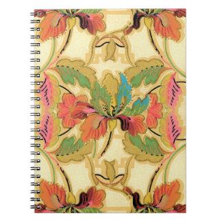 Vintage Orange Turquoise Floral Wallpaper Pattern Notebooks