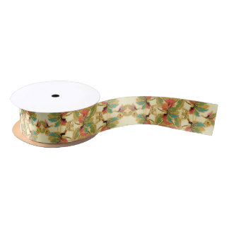 Vintage Orange Turquoise Floral Wallpaper Pattern Satin Ribbon