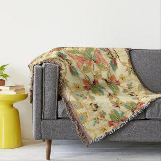Vintage Orange Turquoise Floral Wallpaper Pattern Throw Blanket