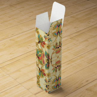 Vintage Orange Turquoise Floral Wallpaper Pattern Wine Box
