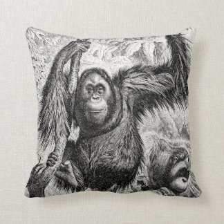 Vintage Orangutan Illustration - 1800's Monkey Cushion