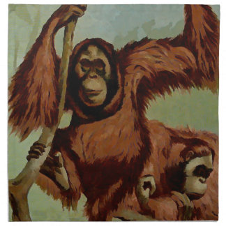 Vintage orangutans on a tree napkin