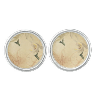 Vintage Orchid Background Cuff Links