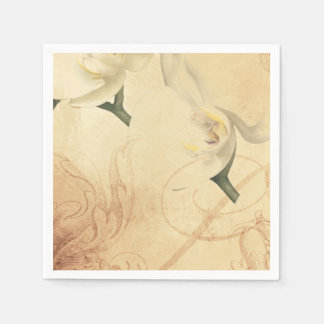 Vintage Orchid Background Disposable Serviette