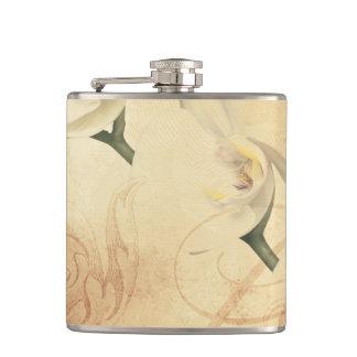 Vintage Orchid Background Hip Flask