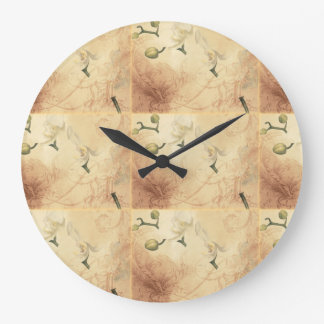 Vintage Orchid Background Large Clock