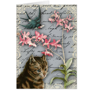 Vintage Orchid Collage Greeting Card