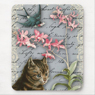 Vintage Orchid Collage Mousepad