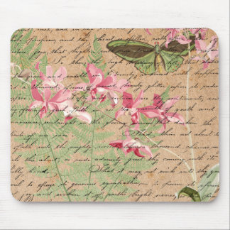 Vintage Orchid Fern and Butterfly Collage Mousepad