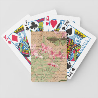 Vintage Orchid Fern Collage Bicycle Playing Cards