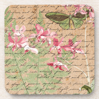 Vintage Orchid Fern Collage Coaster