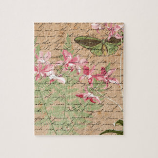 Vintage Orchid Fern Collage Jigsaw Puzzle