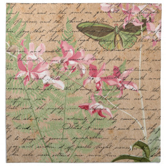 Vintage Orchid Fern Collage Napkin