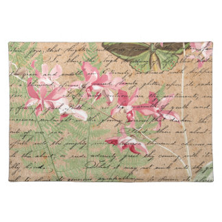 Vintage Orchid Fern Collage Placemat