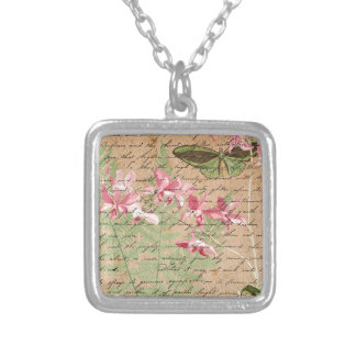 Vintage Orchid Fern Collage Silver Plated Necklace