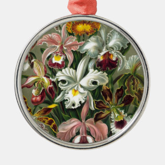 Vintage Orchids Illustration Silver-Colored Round Decoration