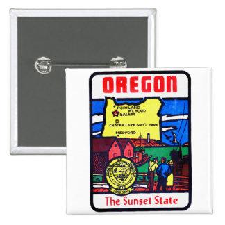 Vintage Oregon 60s Decal Art Sunshine State Button