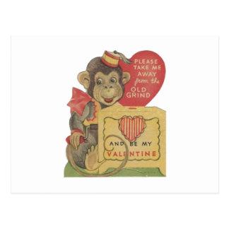 Vintage Organ Grinder Monkey Valentine Postcard