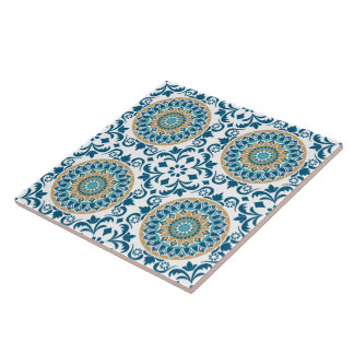 Vintage Oriental Decorative Blue, Brown & White Ceramic Tile