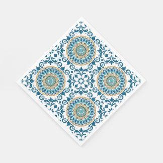 Vintage Oriental Decorative Blue, Brown & White Disposable Napkin