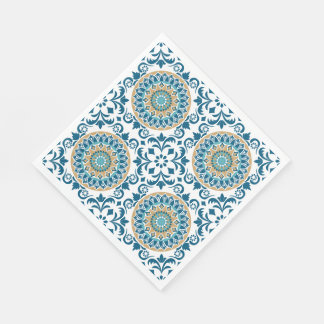 Vintage Oriental Decorative Blue, Brown & White Paper Napkins