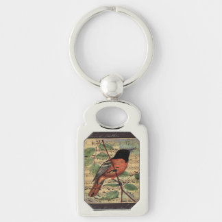 Vintage Oriole On  Music Silver-Colored Rectangle Key Ring