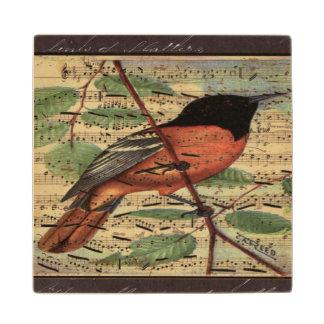 Vintage Oriole On  Music Wood Coaster
