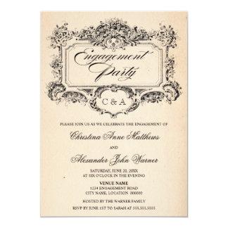 Vintage Ornament Engagement Party 13 Cm X 18 Cm Invitation Card