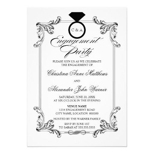 Vintage Ornament Engagement Party Announcement